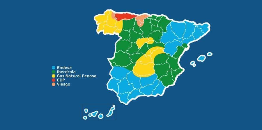Mapa de distribuidoras en España