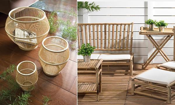 decoración con caña de bambú