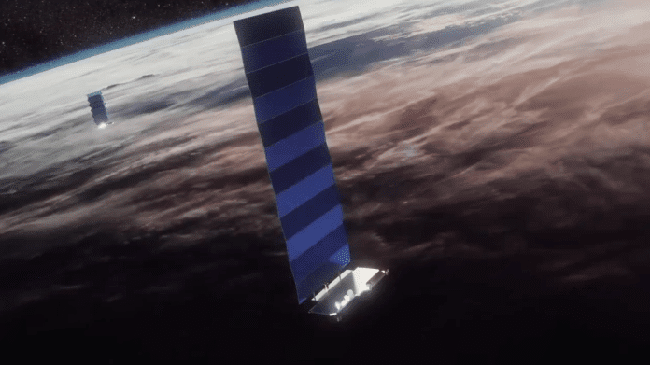 forma de un Starlink en órbita.