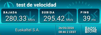 test de velocidad fibra Virgin Telco