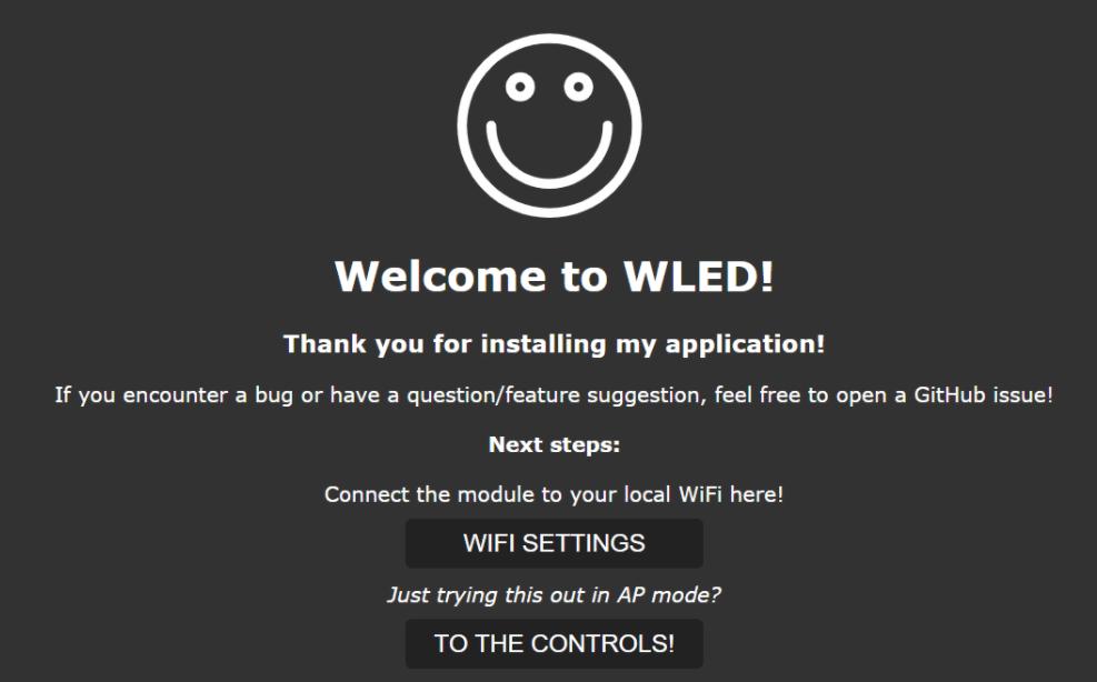 WLED pantalla inicial